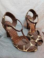 "Moschino Cheap & Chic Animal Print 40 10 M Peep-Toe T-Strap Pumps Brown 4"" Heels"