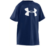 Boys Under Armour Big Logo Large Short Sleeve Hear Gear T-Shirt Blue or White