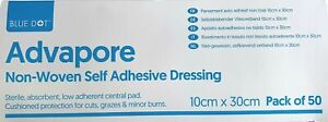 Box of 50 Non-Woven Self Adhesive Dressing Large Plaster 10cm x 30cm