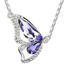 Xmas 18K Purple Amethyst Butterfly Crystal Pendant Necklace