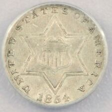 1854 3cs Three Cent Silver ANACS AU55