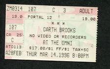 Original 1996 Garth Brooks unused concert ticket Atlanta Georgia