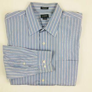 J. Crew Mens Sz Large 16 - 16.5 Blue Pink White Striped Button Front Dress Shirt