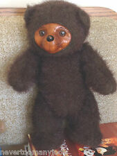 """RAIKES SHERWOOD TEDDY BEAR 1985 12"""" #5452 Jointed Carved Wood Face & Paws Brown"""