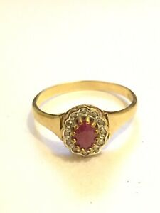 9ct Gold Ruby Diamond Ring Size R , 2.2 Grams Great Condition