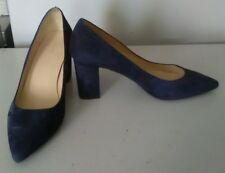 John Lewis Blue Suede Shoes with Block Heel size 38