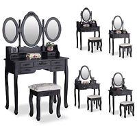 Black Dressing Table Makeup Vanity Set Makeup Desk with Stool Mirror Bedroom