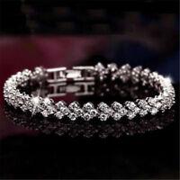 Women Crystal Zircon Cuff Chain Bracelet Bangle Wedding Bridal Wristband Jewelry