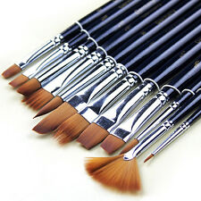 12 Pcs Excellent Pro Artist Watercolor Oil Acrylic Paint Nylon Hair Brushes Set
