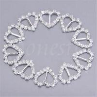 30pcs Heart Rhinestone Diamonte Ribbon Buckle Buckles Slider Wedding Stationery