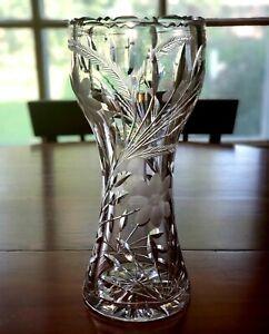 """Large 16"""" Antique ABP American Brilliant Deep Cut Crystal Vase/ Art Nouveau"""
