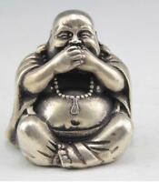 Collectables! chinois Vieux Tibet argent sculpture heureux Bouddha statue