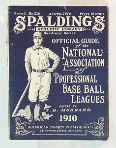 1910 SPALDING OFFICIAL MINOR LEAGUE BASEBALL GUIDE BOOK ORIGINAL NAPBBL GUIDE