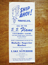 1960s Duluth SS Flame Excursion Yacht Lake Superior Seaway Brochure Minnesota MN
