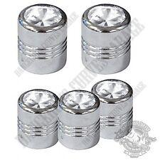 5 Chrome Billet Aluminum Swarovski® Clear Diamond Wheel Valve Stem Dust Caps