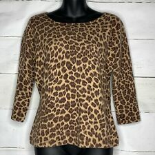 NEIMAN MARCUS Leopard CASHMERE Sweater Medium SOFT Brown Cheetah Stunning Gift