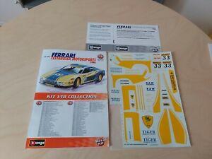 Bburago Burago Decal Satz Ferrari Testarossa 1984 aus Bausatz