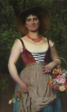 Eugene von Blaas Fine Impressionist Antique Oil Painting Portrait Lady Signed