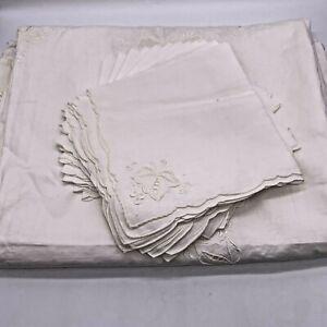 "VTG Formal White Linen Needlepoint Tablecloth + 12 Napkins 68"" x 103"" Grapevines"