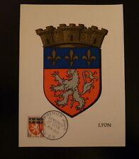 FRANCE PREMIER JOUR FDC YVERT 1181     ARMOIRIES DE LYON    0,70F    LYON   1958