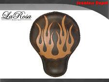 "LaRosa Harley Cross Bones Solo Seat - 16"" Rustic Brown Leather Tan Flame Inlay"