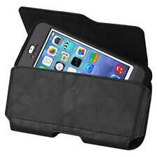 Black Leather Pouch Clip For Apple iPhone 6S Plus with External Battery Case ON