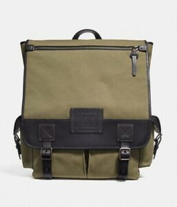 Coach 1941 Men Scout Backpack in Army Green/Black Copper Finish 32576 Retail