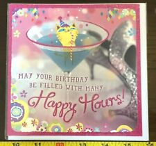 Cat in Cocktail Glass Woman Girl Birthday Card New with Envelope Blank inside