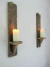 PAIR OF 50CM RECLAIMED PALLET WOOD RUSTIC WAXED WALL SCONCE LED CANDLE HOLDERS