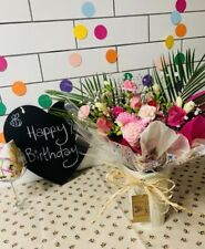 Happy Birthday Hand Tied Flowers Vase Bouquet Free Message Card + Free Delivery