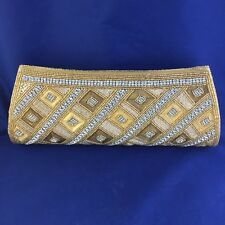 Bougainvillea Boutique ~ Gold Beaded Clutch with Crystals ~ NWT! ~ Free Shipping