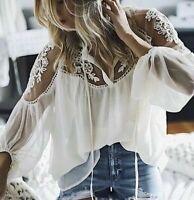 NWT Boutique Cream Lace Chiffon Boho Long Sleeve Flowy Top Blouse Women's