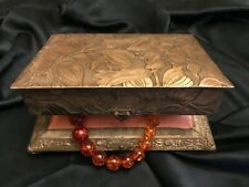 FAB! Late 1800's Silver Plate Embossed Floral Design Jewelry Presentation Box