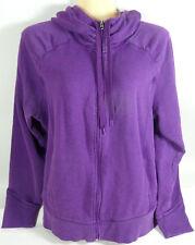 Champion Hoodie Zip Up Sweatshirt Deep Purple Gathered Yoke Neck Womens Size XL
