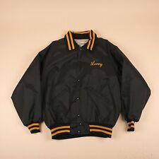 Vintage DeLong Black Nylon Letterman Baseball Bomber Jacket Men's Large R15048