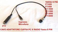 CAVO ADATTATORE DA CUFFIA PC A RADIO YAESU 8 PIN FT-950 FT-1000 FT-1200 FT-3000