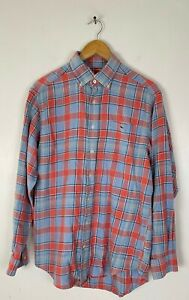 VINEYARD VINES Mens Medium Blue & Pink Plaid Button Down Tucker Shirt