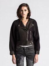NWT $698 Diesel Lamb Leather Biker Moto Jacket Womens Black Coat *S (2- 4- 6?)