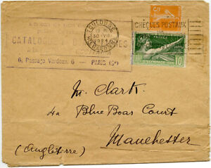 FRANCE 1924 OLYMPIC 10c on COVER to GB + BOOK DEALER CACHET