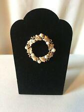"Vintage ""Trifari"" Goldtone & Faux Pearl Wreath Pin, Signed"