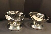 VTG MCM Silver fade chrome -  2 set, salad /candy dish bowl Dorothy Thorpe style