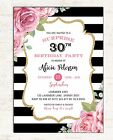Adult Birthday Invitation Surprise Party Invite 30th 40th 50th Women Pink Roses
