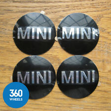 4 NEW GENUINE ORIGINAL MINI CENTRE CAPS PLAQUES BADGES HUB STICKERS WHEEL ALLOY