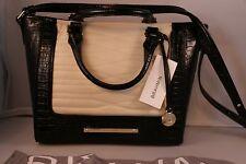 BRAHMIN Genuine Leather Mini Arno Satchel /Handbag -H15 845 - Creme / Black