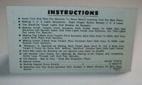 Blackout Pinball Machine Instruction Card Original Williams 1980 Double Sided