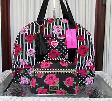 Betsey Johnson Dome Floral Roses Weekender Travel Bag Cosmetic Set Black NWT