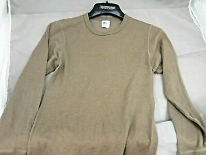Duofold Wool Blend Olive Green Thermal Crew Neck Shirt Small 22082 Base Layer