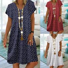 Summer Women Boho Polka Dot Short Sleeve Midi Dress Casual T Shirt Sundress