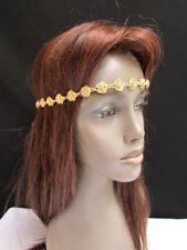 Women Girls Elastic Band Gold Metal Flowers Forehead Fashion Head Chain Jewelry
