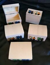 JOBLOT 5 SMALL WOODEN TRAIN THEMED Decorated BOXES 5x8.5x6.5cm